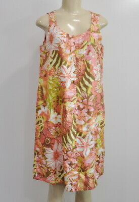 b93100a242f J Jill Love Linen Size Small Multi-Color Print Shift Sleeveless Dress  Pockets