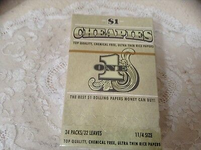 "CHEAPIES CIGARETTE ROLLING PAPER 11/4"" (32mm) 24 PACKS FULL BOX) NEW"