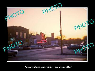 OLD LARGE HISTORIC PHOTO OF SHAWNEE KANSAS, VIEW OF THE AZTEC THEATER c1965