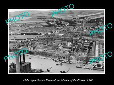 OLD LARGE HISTORIC PHOTO FISHERSGATE SUSSEX ENGLAND, DISTRICT AERIAL VIEW c1940