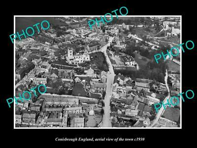 OLD LARGE HISTORIC PHOTO OF CONISBROUGH ENGLAND, AERIAL VIEW OF THE TOWN c1930 2