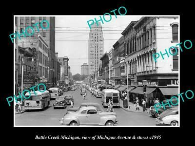OLD LARGE HISTORIC PHOTO OF BATTLE CREEK MICHIGAN, VIEW OF MICHIGAN Ave c1945 1