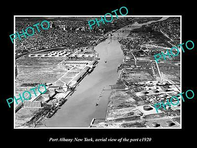 OLD LARGE HISTORIC PHOTO OF PORT ALBANY NEW YORK, AERIAL VIEW OF PORT c1920