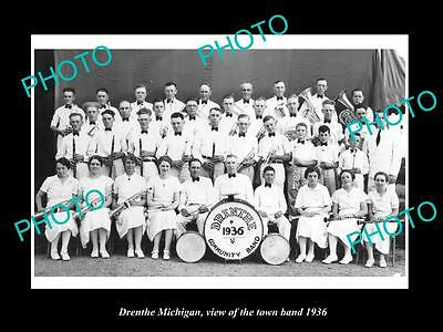 OLD LARGE HISTORIC PHOTO OF DRENTHE MICHIGAN, VIEW OF THE TOWN BAND c1936