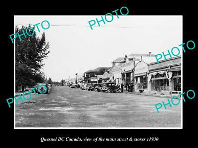 OLD LARGE HISTORIC PHOTO OF QUESNEL BC CANADA, THE MAIN STREET & STORES c1930