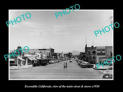 OLD LARGE HISTORIC PHOTO ESCONDIDO CALIFORNIA, THE MAIN ST & STORES c1950
