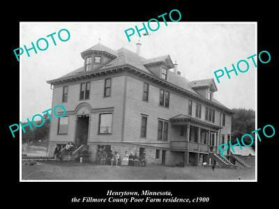 OLD LARGE HISTORIC PHOTO HENRYTOWN MINNESOTA, VIEW OF THE POOR FARM HOME c1900