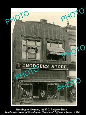 OLD LARGE HISTORIC PHOTO OF HUNTINGTON INDIANA, VIEW OF THE RODGERS STORE c1920