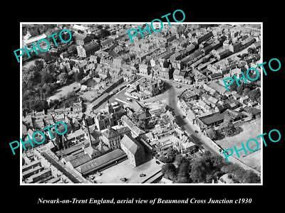 Old Large Historic Photo Of Newark On Trent England, View Of Beaumond Cross 1930