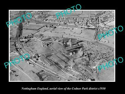 OLD LARGE HISTORIC PHOTO NOTTINGHAM ENGLAND, AERIAL VIEW OF CODNOR PARK c1930 2