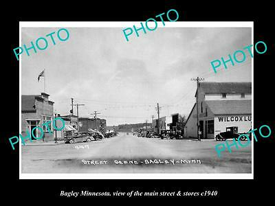 OLD LARGE HISTORIC PHOTO OF BAGLEY MINNESOTA, THE MAIN STREET & STORES c1940
