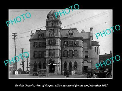 Old Large Historic Photo Of Guelph Ontario Canada, The Post Office 1927