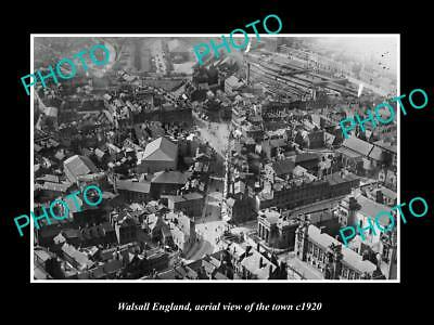 OLD LARGE HISTORIC PHOTO OF WALSALL ENGLAND, AERIAL VIEW OF TOWN c1920 3