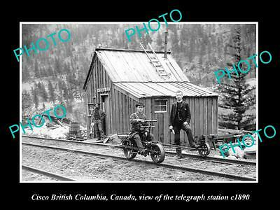 OLD LARGE HISTORIC PHOTO OF CISCO BC CANADA, VIEW OF THE TELEGRAPH STATION c1890