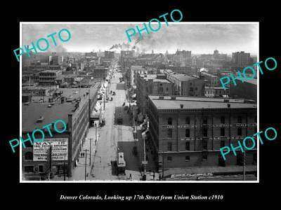 OLD LARGE HISTORIC PHOTO OF DENVER COLORADO, VIEW OF 17th STREET & STORES c1910