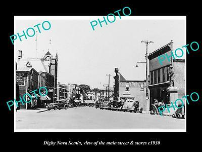OLD HISTORIC PHOTO OF CANADA, DIGBY NOVA SCOTIA, THE MAIN St & STORES c1930