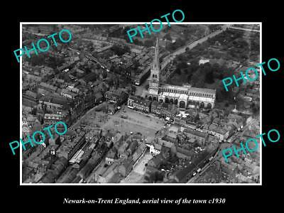 OLD LARGE HISTORIC PHOTO OF NEWARK ON TRENT ENGLAND, AERIAL VIEW OF TOWN c1930 1