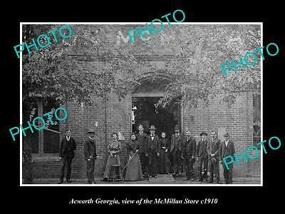 OLD LARGE HISTORIC PHOTO OF ACWORTH GEORGIA, VIEW OF THE McMILLAN STORE c1910