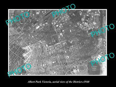 OLD LARGE HISTORIC PHOTO OF MELBOURNE VICTORIA, AERIAL VIEW OF ALBERT PARK c1940