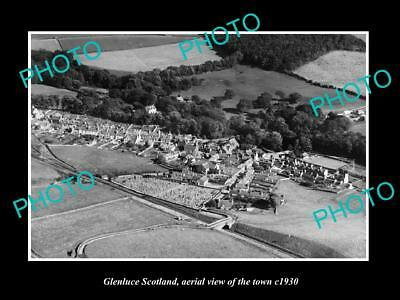 OLD LARGE HISTORIC PHOTO OF GLENLUCE SCOTLAND, AERIAL VIEW OF THE TOWN c1930 1