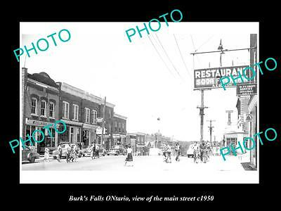 OLD LARGE HISTORIC PHOTO OF BURKS FALLS ONTARIO, VIEW OF THE MAIN STREET c1950