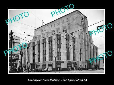 OLD LARGE HISTORIC PHOTO OF LOS ANGELES TIMES NEWSPAPER BUILDING c1943 LA