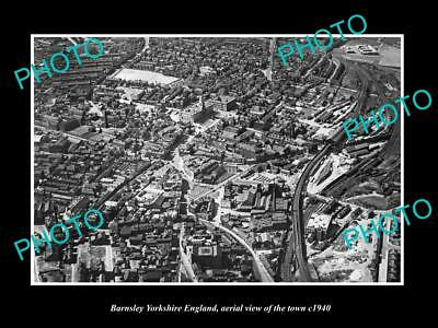 OLD LARGE HISTORIC PHOTO OF BARNSLEY ENGLAND, AERIAL VIEW OF TOWN c1940 4