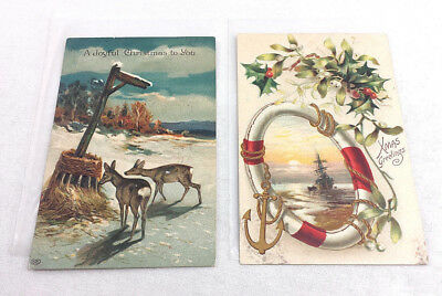 Christmas Postcards.Christmas Postcards Greetings Antique Embossed Nautical Nature Deer Divided Back