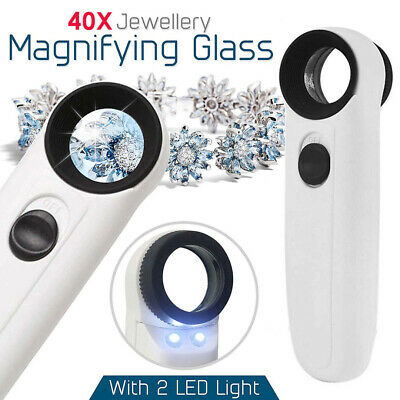 High Power 40x Light Magnifying Glass Handheld Magnifier With 2 LED Microscope
