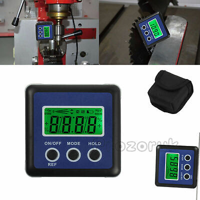 Digital Angle Gauge Protractor Bevel Box Magnets LCD Inclinometer Measure 0-360°