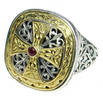 Gerochristo 2499 ~ Solid Gold, Silver & Ruby -  Medieval-Byzantine Cross Ring