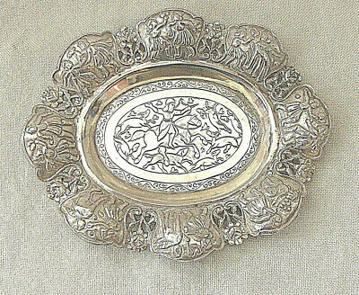 Persian Isfahan Antique Silver Sterling Plate Repousse Engraving 19th cen. 132gr