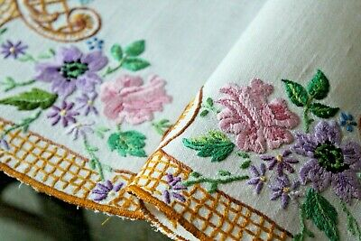 Vtg Antique Irish Linen Floral Hand Embroidered Placemat Table Mat Spring!
