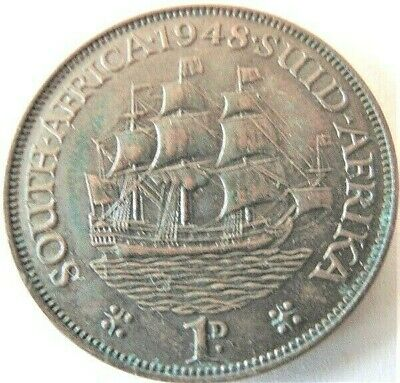 1948 SOUTH AFRICA, GEORGE VI,  Penny grading EXTRA FINE.