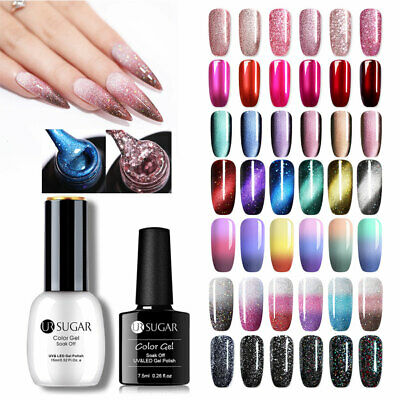 UR SUGAR Nail Soak-Off UV Gel Polish Magnet Thermal Fine-glitter Gel 5/7.5/15ML