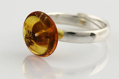 Fossil Inclusion Genuine BALTIC AMBER Adjustible Silver Ring r160118-10