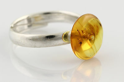 Fossil MIDGE Inclusion Genuine BALTIC AMBER Adjustible Silver Ring r160118-13