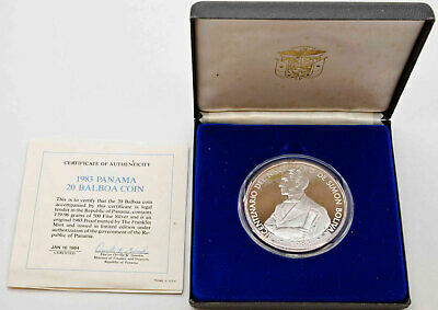 1983 Panama 20 Balboas 1.9oz Silver Proof Coin KM# 93 RARE 3186 Minted FDC