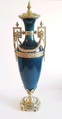 Beautiful Large 19C Sevres Style Porcelain Vase Urn Gilt Bronze Mounts 32 inch