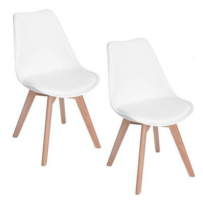 Set of 2 Retro Design Dining/Office Chair with Solid Wood Beech Legs Plastic