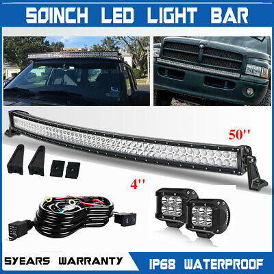 """Offroad 700W 50inch LED Light Bar Curved Combo + 4"""" Pods Truck Roof Driving 52"""""""