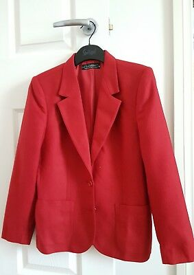 Vintage Fletcher Jones Red Wool Blend Jacket Fits Size 6