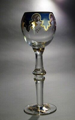 Antique Bohemian Fritz Heckert Enameled Very Tall Wine Glass/ Goblet 1866 - 1891
