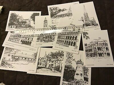 10 Expo 88 1988 Cards Brisbane Historical Buildings Letter Cards In Packet B&w