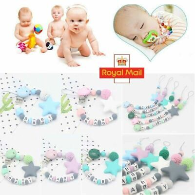 Baby Dummy Soother Silicone Clip Chain Holder Strap Shower Christening Gift Bead