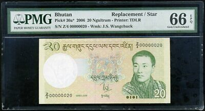 BHUTAN 20 NGULTRUM 2006 P 30 a* REPLACEMENT LOW SERIAL NUMBER GEM UNC PMG 66 EPQ