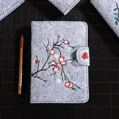 Embroidered Flower Trendy Felt Notepad Blank Paper Journal Diary Notebook 6A