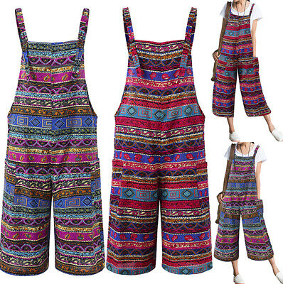 Plus Size Women Boho Floral Jumpsuit Holiday Evening Party Wide Leg Playsuits
