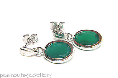 9ct White Gold Green Agate Drop Earrings Made in UK Gift Boxed Birthday Gift