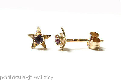 9ct Gold Tiny Amethyst Star Studs Earrings Made in UK Gift Boxed Birthday Gift